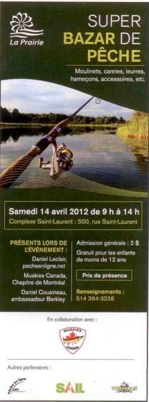 Bazar de pêche le 14 avril de 9h@14h au Complexe St-Laurent à La Prairie
