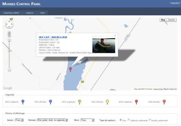 Toutes les captures apparaissent dans la carte principale.